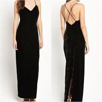 DEFINITIONS Velvet Maxi Dress with Cross Back in Black UK 16 US 12   (rst56.429)