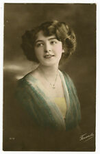 1910's Vintage Glamour SMILING BEAUTY tinted photo postcard