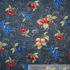 BonEful Fabric FQ Cotton Quilt Gray Paisley Red Cherry Straw*berry Blue Country