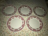 "5 VTG Shenango China Pink Red Harvest Scallop Edge 9 5/8"" Dinner Plate HEAVY!"