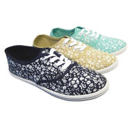 NEW LADIES CASUAL PLIMSOLES LACE UP FLAT PUMPS PLIMSOLLS CANVAS GIRLS TRAINERS