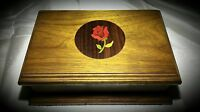 WOODEN TRINKET/JEWELRY BOX WITH ORNATE RED ROSE ON LID – BEAUTIFULLY MADE !!