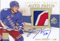 16-17 SP Authentic Jimmy Vesey /100 Auto Patch Rookie Future Watch Limited 2016