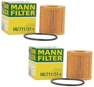 Mann Oil Filter 2Pack fits Land Rover DEFENDER Pick Up L316 2.2 Td4 4x4 (L317)