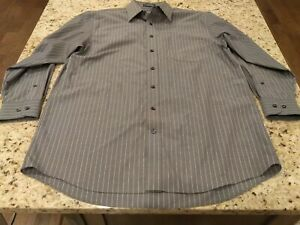 Men's Stafford Size 32-33 Arm Length 3/4 Neck 16 1/2 Button Up Gray Shirt Sku#80