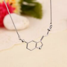 Silver Classic Biochemistry Molecule Serotonin Happy DNA Pendant Necklace