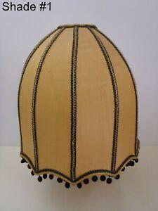 Antique Gold Silk Drum Lamp Shade Scalloped Edge Lot#1