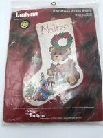 "Janlynn TEDDY STOCKING Christmas Cross Stitch Kit #57-31 Sealed 19""x14"" OOP 1989"