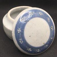 Trinket Box Vintage Signed Studio Art Stoneware Pottery Lidded Salt Glaze Blue