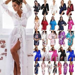 Women Sexy Kimono Robe Bridesmaid Robes Nightwear Sleepwear Bathrobe Dress Gown