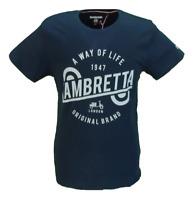 Lambretta Hommes/'S Bleu Marine Paisley Bordure 100/% Coton Polos