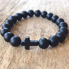 Men's Black Matte Onyx Sideways Cross Faith Yoga Beaded Bracelet Gift For Him