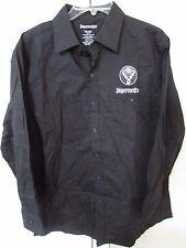 Jagermeister Mens Long Sleeve Button Front Black Shirt Medium 100% Cotton
