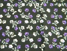 tissu fleur fusain violet fond noir acetate  45X113cm neuf mercerie couture 233
