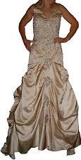 Robe de mariée satin beige brodée perles argentées KIMBERLEY ? JET 7 NAILS 38/40