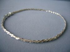 "New-Italian Sterling Silver Ankle Bracelet- 9"" -Shimmery Faceted Link- Italy925"
