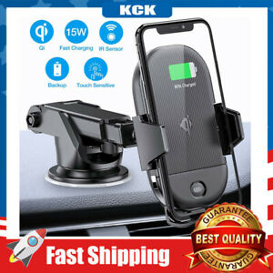 Wireless Car Charger Mount IR Sensor 15W Auto Clamping Air Vent Dashboard Holder