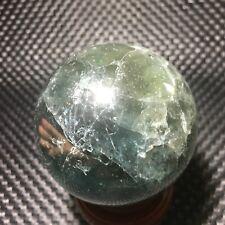 415g Natural  Green ghost Quartz Crystal Sphere Ball Healing 67mm DE105-W