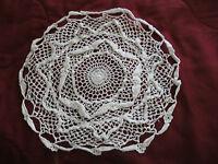 """Hand Crocheted Round Doily White 14"""" Diameter"""
