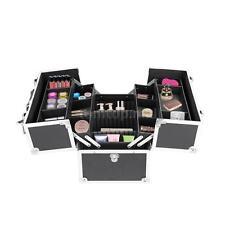 #Aluminum Large Cosmetic Organizer Box Make-Up Case Lockable 2 Layers Black I1C5