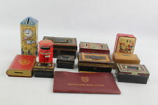 12 x Assorted Vintage MONEY BOXES & CASH TINS Inc Tin, Wooden, Post Office Etc