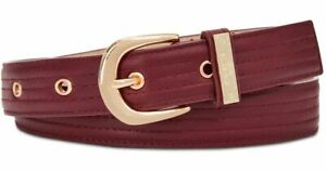 """STEVE MADDEN Womens Wine Red Faux Leather Trapunto Stitch Waist Belt Medium 34"""""""