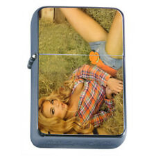 Farmers Daughter Pin Up Girls D10 Flip Top Oil Lighter Wind Resistant With Case