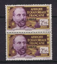 French Equatorial Africa - 1940 2F15 Liotard with Libre ovpt, vertical pair