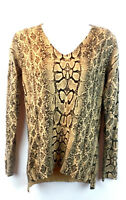 Marled Reunited Clothing Women's Long Sleeve Blouse Top Brown V-Neck Size Small