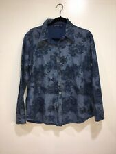 Krazy Kat Blue Reversible Jean Floral Shirt Medium