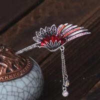 2pcs Ancient Chinese Women Tassel Beaded Feather Hair Pin Sticks Slide Clip
