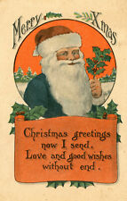 Vintage Merry Xmas Postcard Green Robed Santa Claus Red Hat