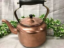 Lovely Antique Victorian Vintage Electric Copper Kettle With Wooden Handle