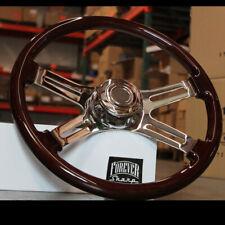 """18"""" Dark Wood Steering Wheel Chrome Dual  Spoke Kenworth Peterbilt Hub Included"""
