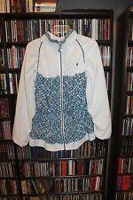 Adidas White w Blue Geometric pattern Zip Tennis Jacket  Ladies L  (bin64)