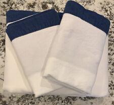 Pottery Barn Teen Suite Ribbon Flannel FULL Sheet Set ROYAL NAVY