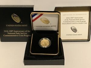 2016-W US Mint 100th Anniversary National Park Svc Uncirculated $5 Gold Coin