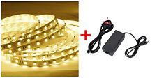 12V 5M Warm White SMD3528 LED Strip Tape Light Kit Power Adapter Under Cabinet