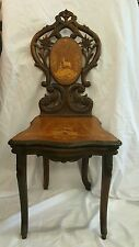 Rare antique walnut wood musical chair from Switzerland Plays 3 Tunes!!!!!