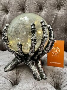 Tkmaxx MARTHA STEWART Halloween Spooky Skeletal Hands Light Up Glass Globe NEW