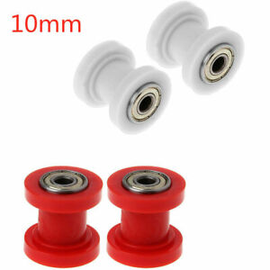 2x 10mm Chain Roller Slider PullyTensioner Wheel Guide for Motorcycle Pit Bike