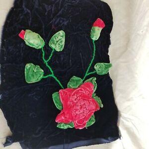 Vintage Velvet Hand Applique Remnant Pink Rose & Buds 16 x 12 Unique Cutter