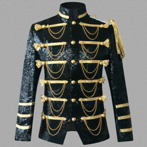 Mens Shiny Sequin Longline Jacket Suit Blazer Outfit Stage Costume Tops Coats