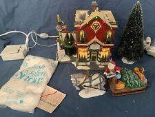 *Dept 56 Snow Village ~SILVER BELLS CHRISTMAS SHOP Gift Set~ EUC in Box