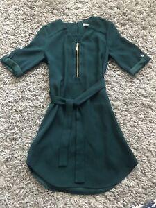 River Island Girls Dark Green Dress Age 7 Years