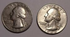 1983, 1984  US Quarter dollar,  25 cents USA coins