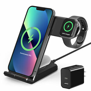 3 in 1 Qi Fast Wireless Charger Dock Station For Apple Watch iPhone 12 13 Pro XS
