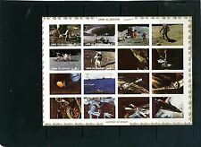 UMM AL QIWAIN 1972 HISTORY OF SPACE SHEET OF 16 STAMPS HARD PAPER IMPERF MNH