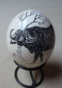 Ostrich Egg Handpainted African Water Buffalo Animal Theme Decorated Metal Stand