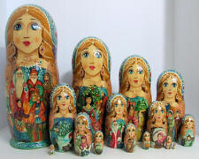 """15pcs Hand Painted One of a KInd Russian Nesitng Doll """"Twelve Months"""" by Frolova"""
